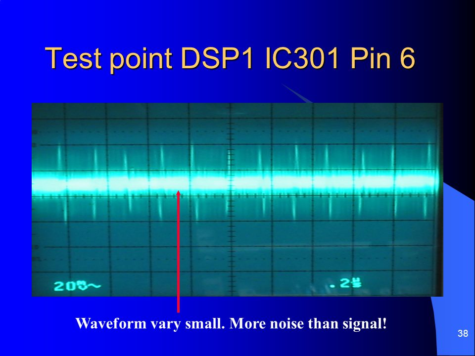 Test point DSP1 IC301 Pin 6 Waveform vary small. More noise than signal!