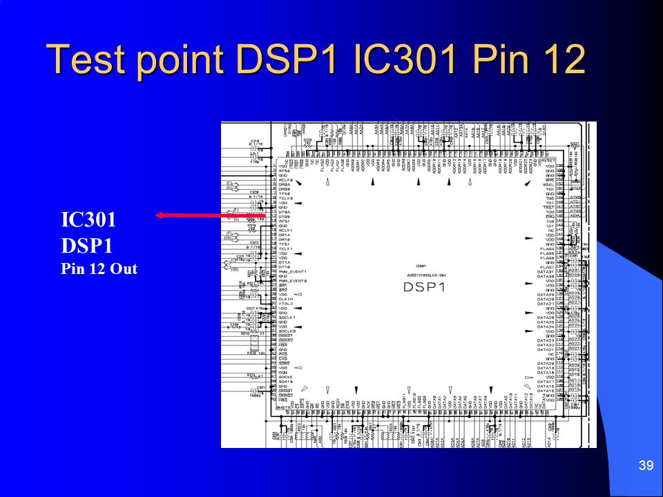 Test point DSP1 IC301 Pin 12 IC301 DSP1 Pin 12 Out