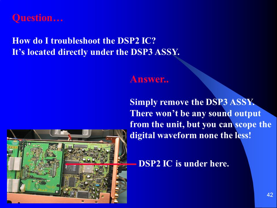 Question… Answer.. How do I troubleshoot the DSP2 IC
