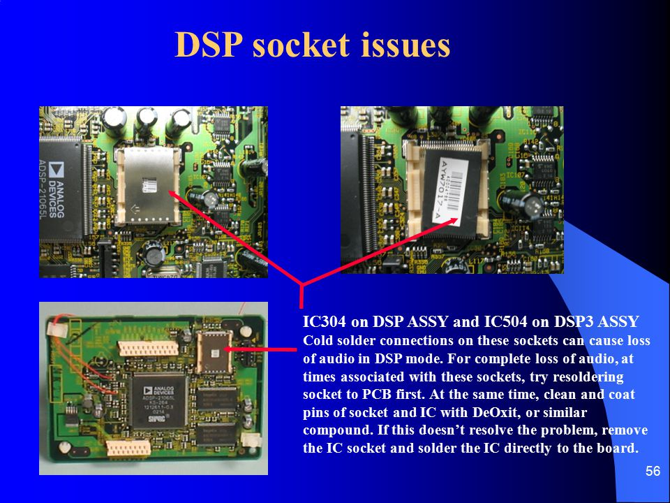 DSP socket issues IC304 on DSP ASSY and IC504 on DSP3 ASSY