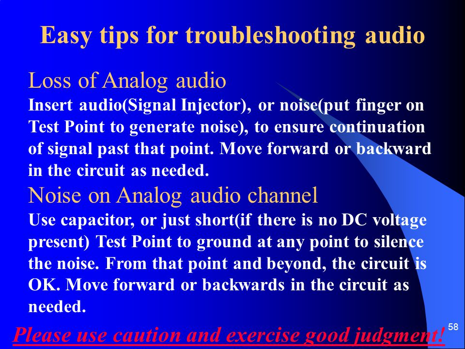 Easy tips for troubleshooting audio