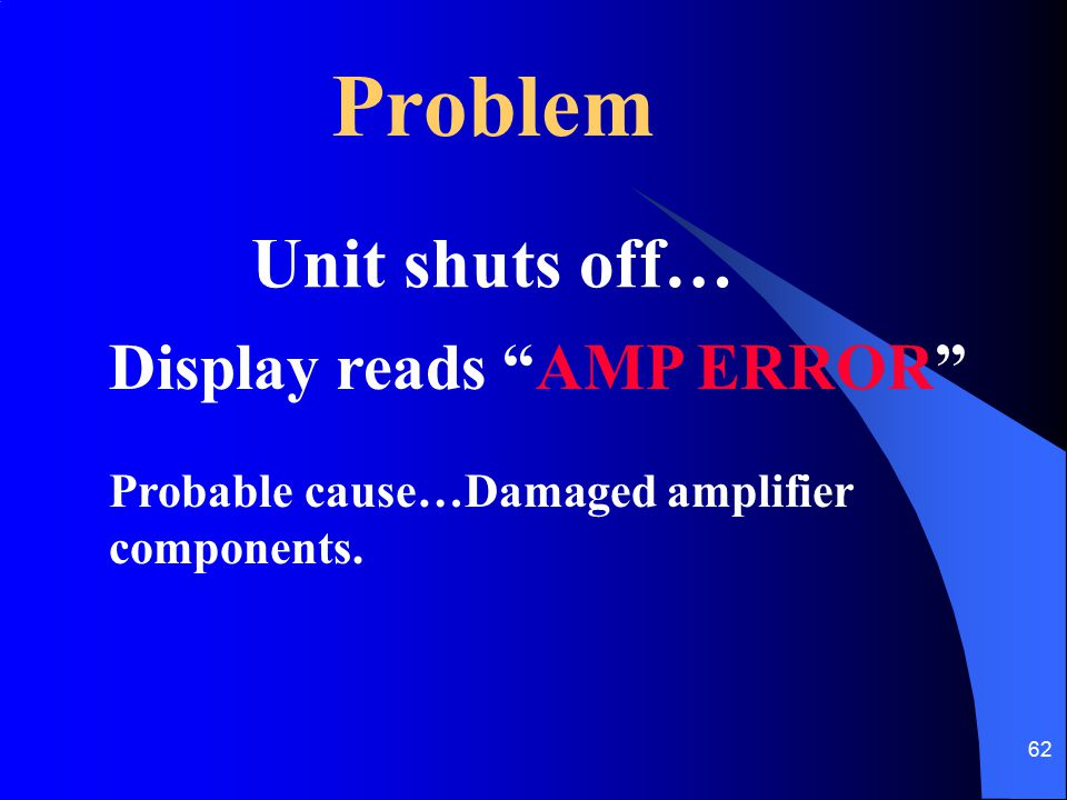 Problem Unit shuts off… Display reads AMP ERROR