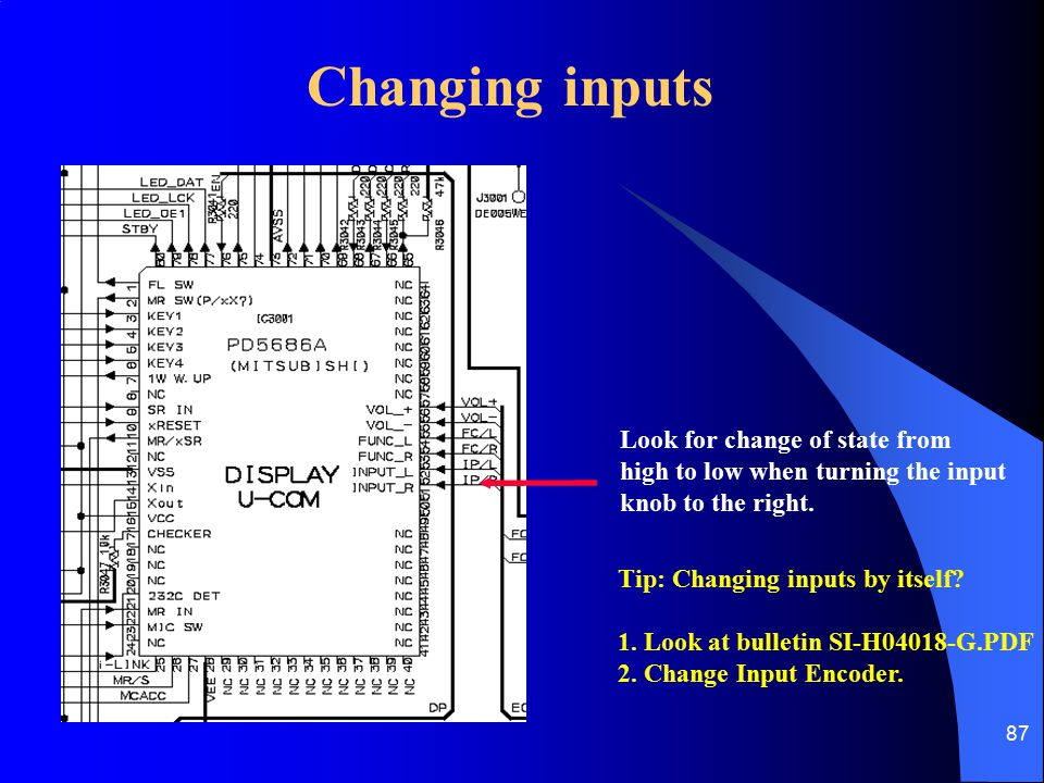 Changing inputs Look for change of state from
