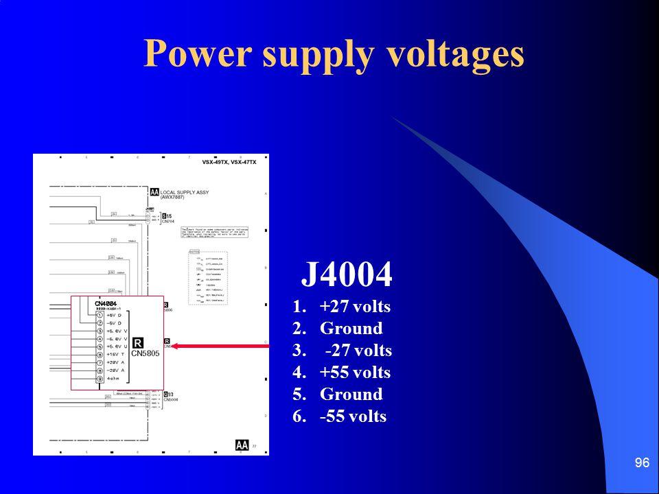 Power supply voltages J4004 1. +27 volts 2. Ground -27 volts