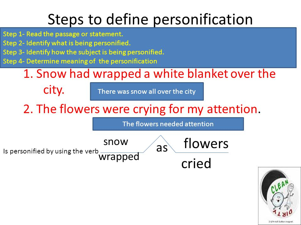 Steps to define personification