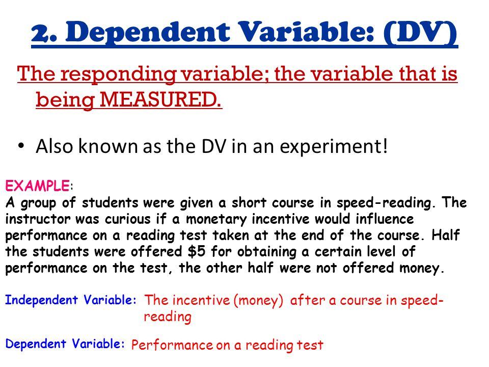 2. Dependent Variable: (DV)