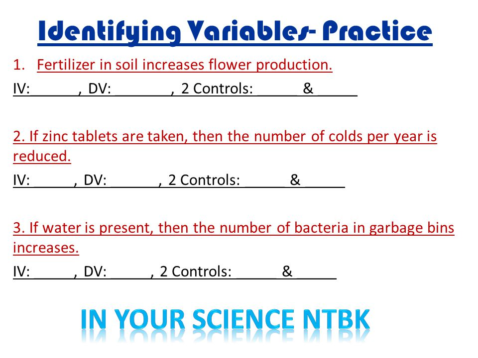 Identifying Variables- Practice