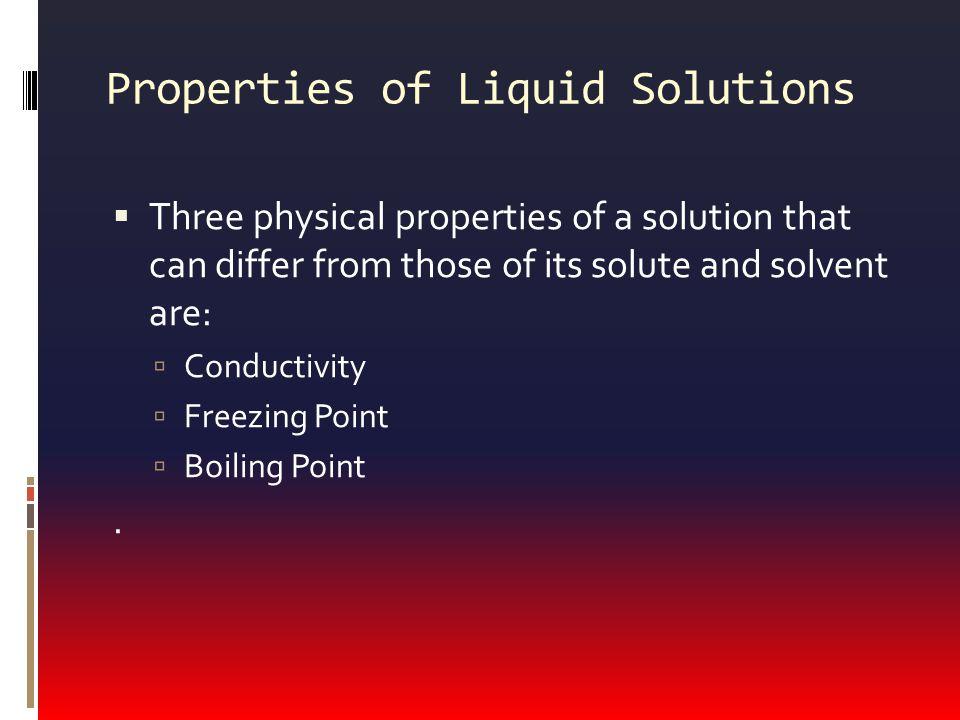 Properties of Liquid Solutions