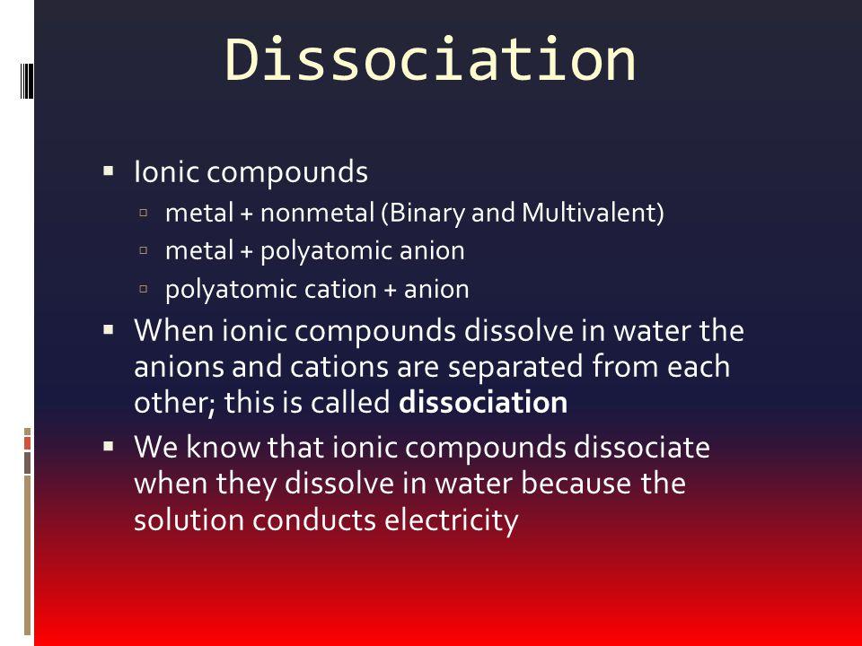 Dissociation Ionic compounds