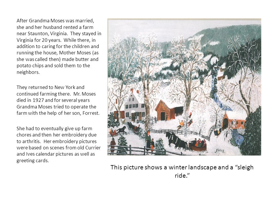 This picture shows a winter landscape and a sleigh ride.