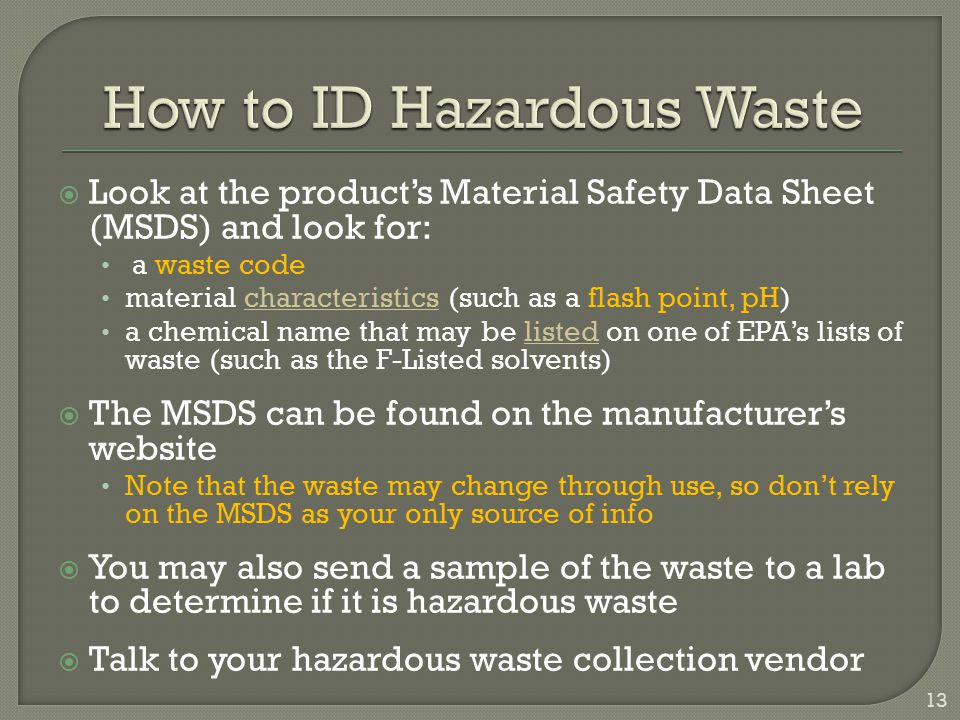 How to ID Hazardous Waste