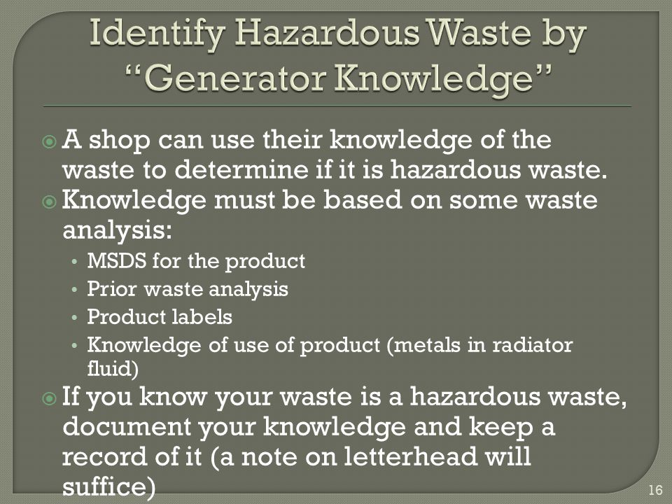 Identify Hazardous Waste by Generator Knowledge