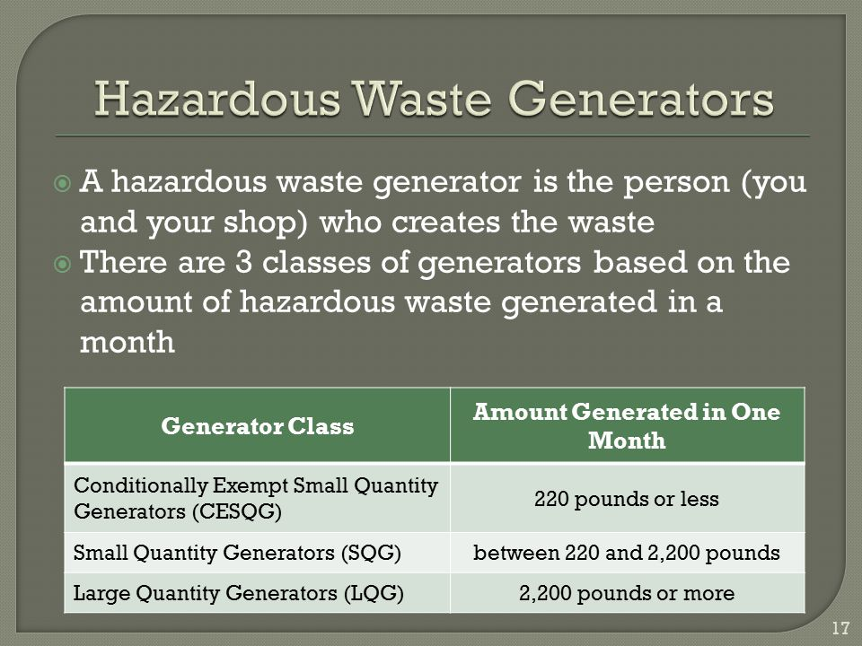 Hazardous Waste Generators