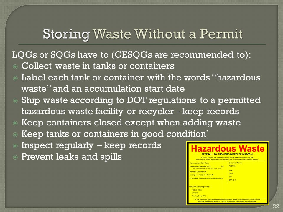 Storing Waste Without a Permit