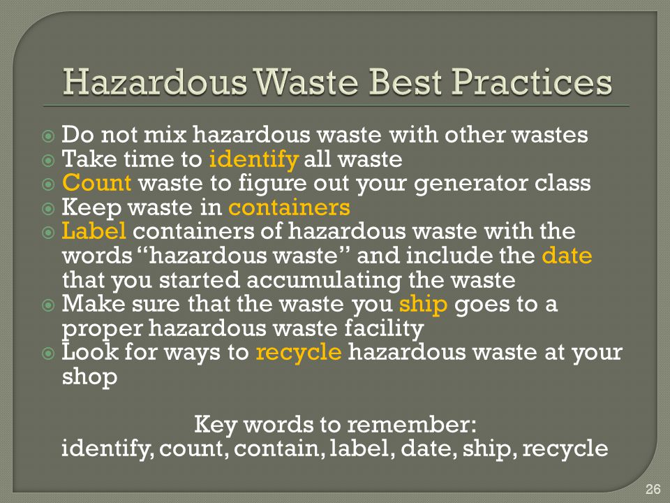 Hazardous Waste Best Practices