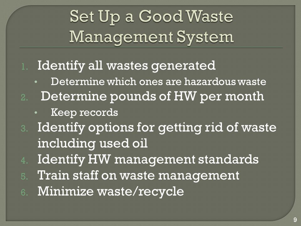 Set Up a Good Waste Management System