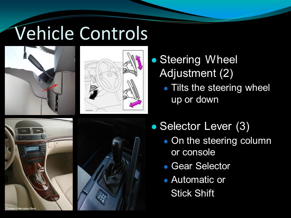 Vehicle Controls Steering Wheel Adjustment (2) Selector Lever (3)