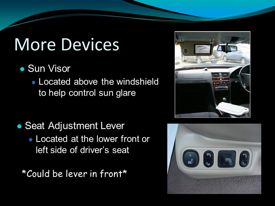 More Devices Sun Visor Seat Adjustment Lever
