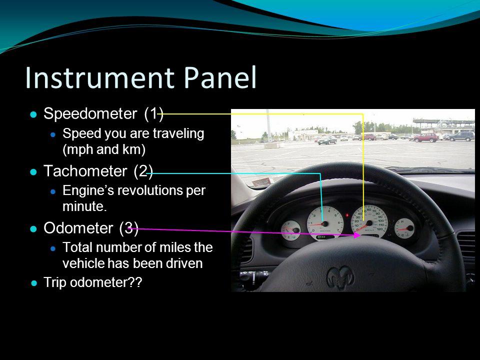 Instrument Panel Speedometer (1) Tachometer (2) Odometer (3)