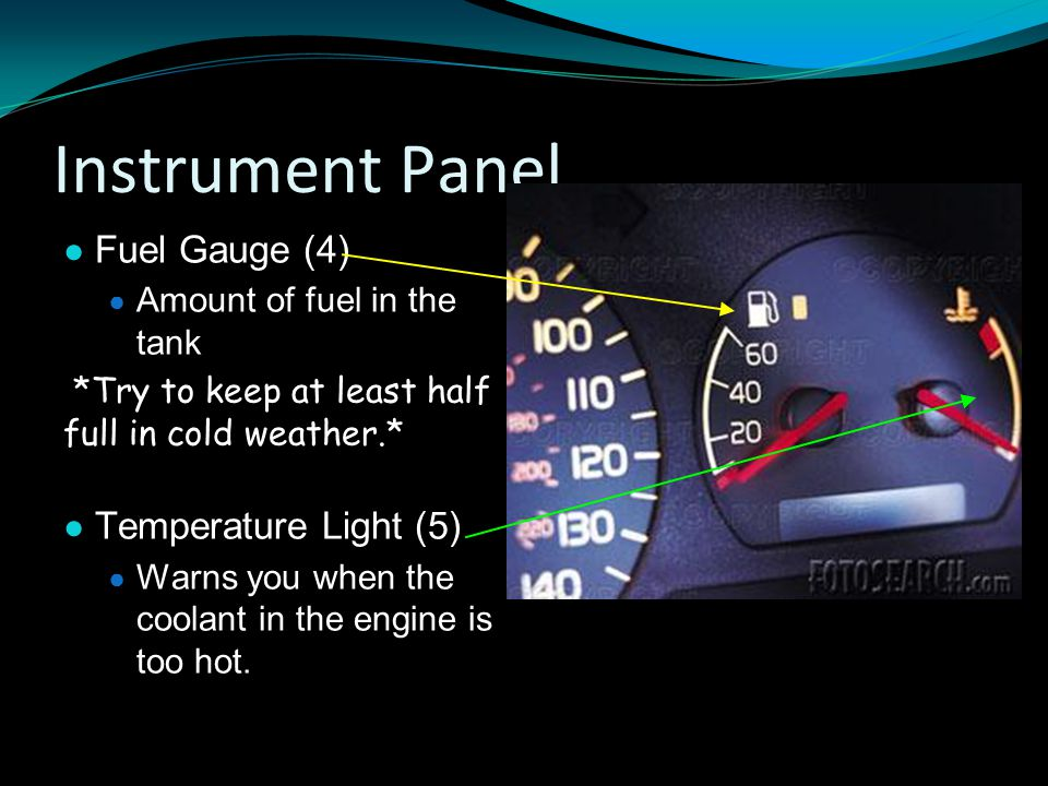 Instrument Panel Fuel Gauge (4) Temperature Light (5)