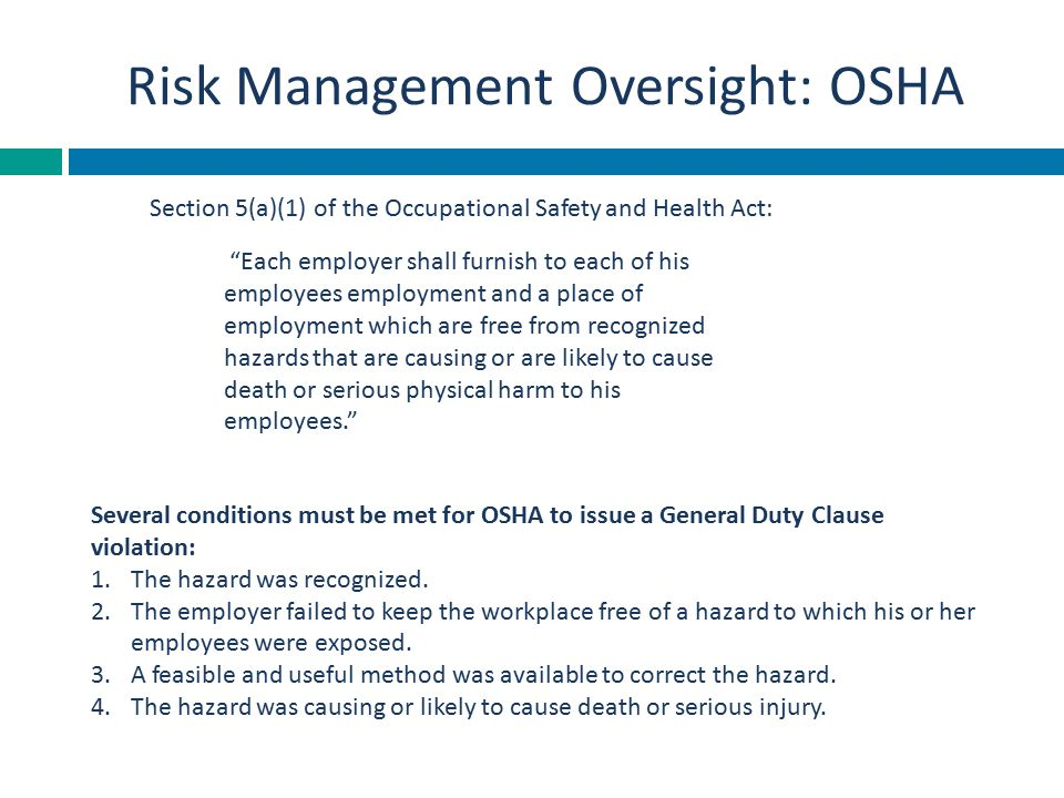Risk Management Oversight: OSHA