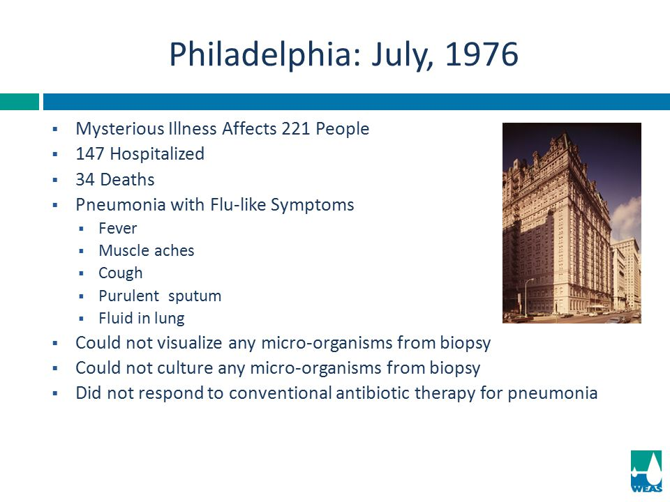 Philadelphia: July, 1976 Mysterious Illness Affects 221 People
