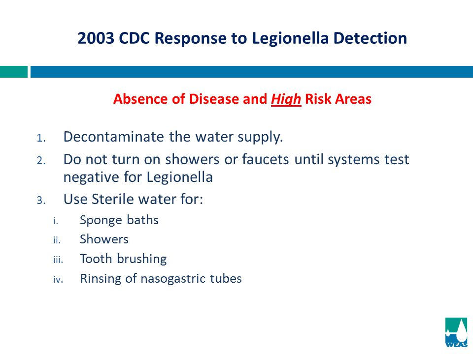 2003 CDC Response to Legionella Detection