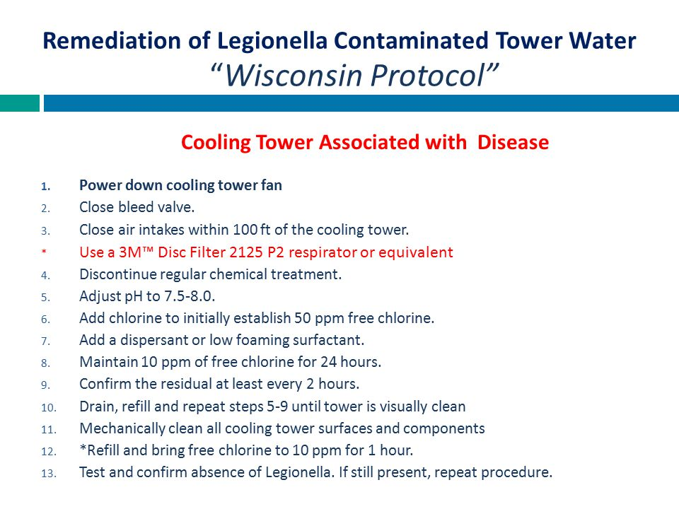Remediation of Legionella Contaminated Tower Water