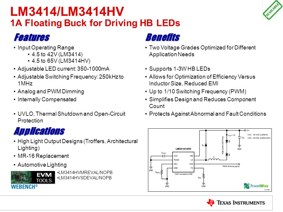 LM3414/LM3414HV 1A Floating Buck for Driving HB LEDs
