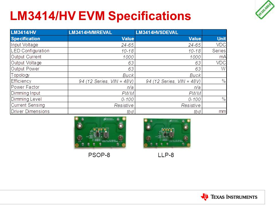 LM3414/HV EVM Specifications