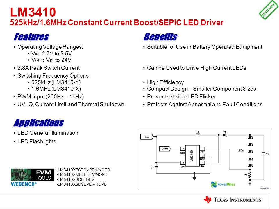 LM3410 525kHz/1.6MHz Constant Current Boost/SEPIC LED Driver