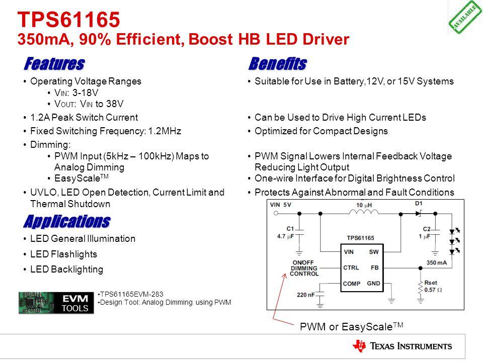 TPS61165 350mA, 90% Efficient, Boost HB LED Driver