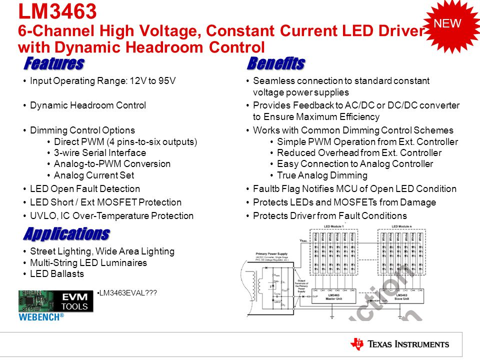 LM3463 6-Channel High Voltage, Constant Current LED Driver with Dynamic Headroom Control