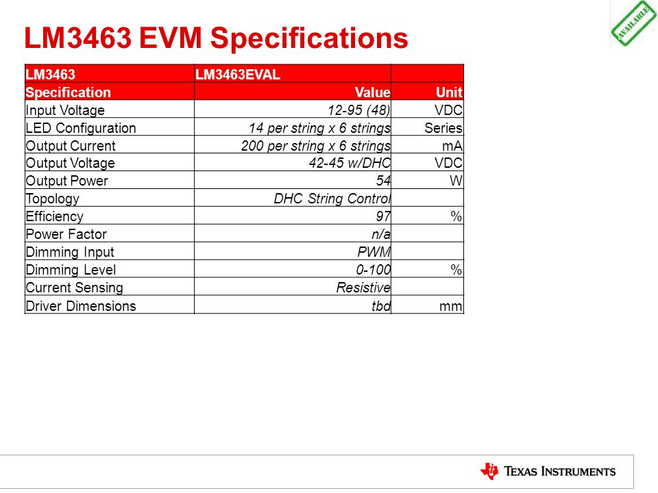 LM3463 EVM Specifications LM3463 LM3463EVAL Specification Value Unit
