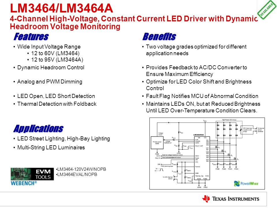 LM3464/LM3464A 4-Channel High-Voltage, Constant Current LED Driver with Dynamic Headroom Voltage Monitoring