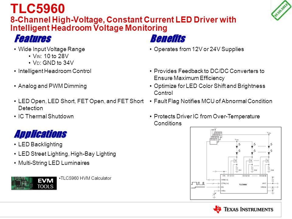 TLC5960 8-Channel High-Voltage, Constant Current LED Driver with Intelligent Headroom Voltage Monitoring