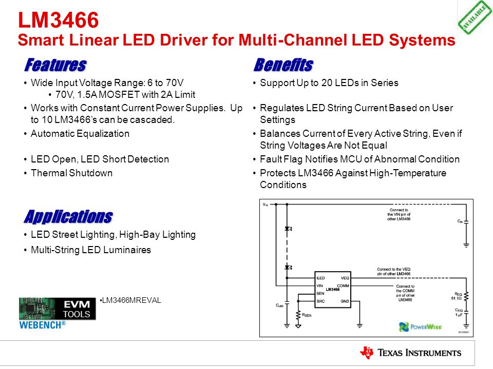 LM3466 Smart Linear LED Driver for Multi-Channel LED Systems