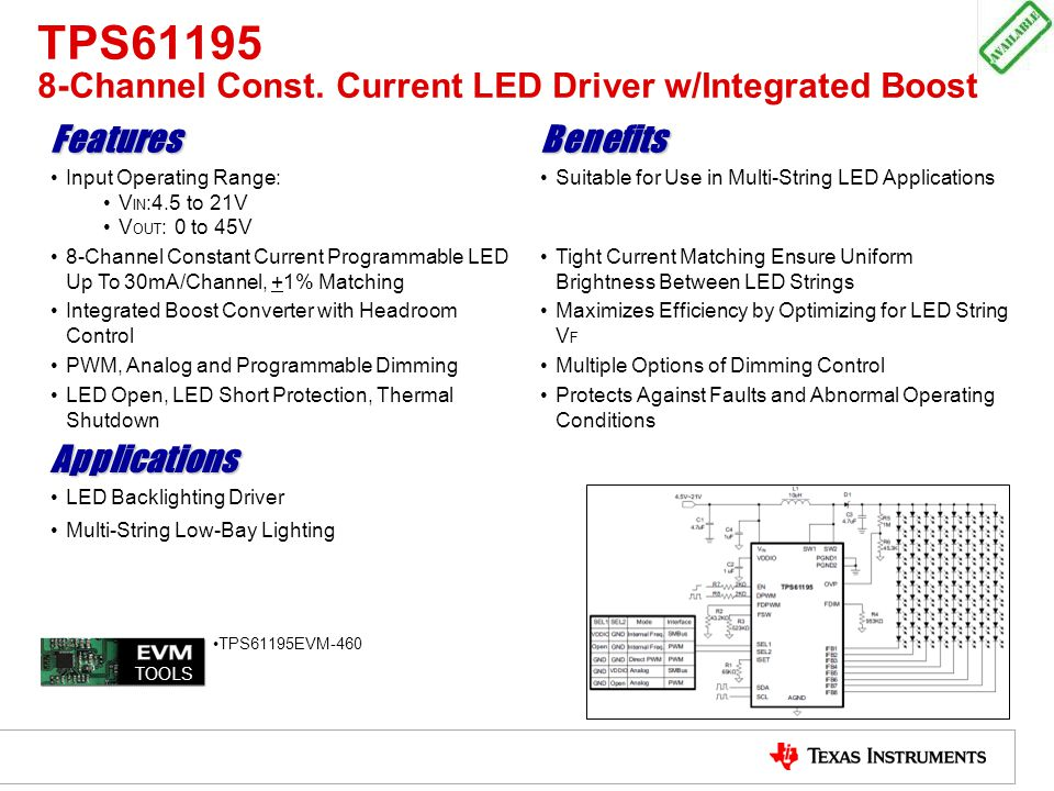 TPS61195 8-Channel Const. Current LED Driver w/Integrated Boost