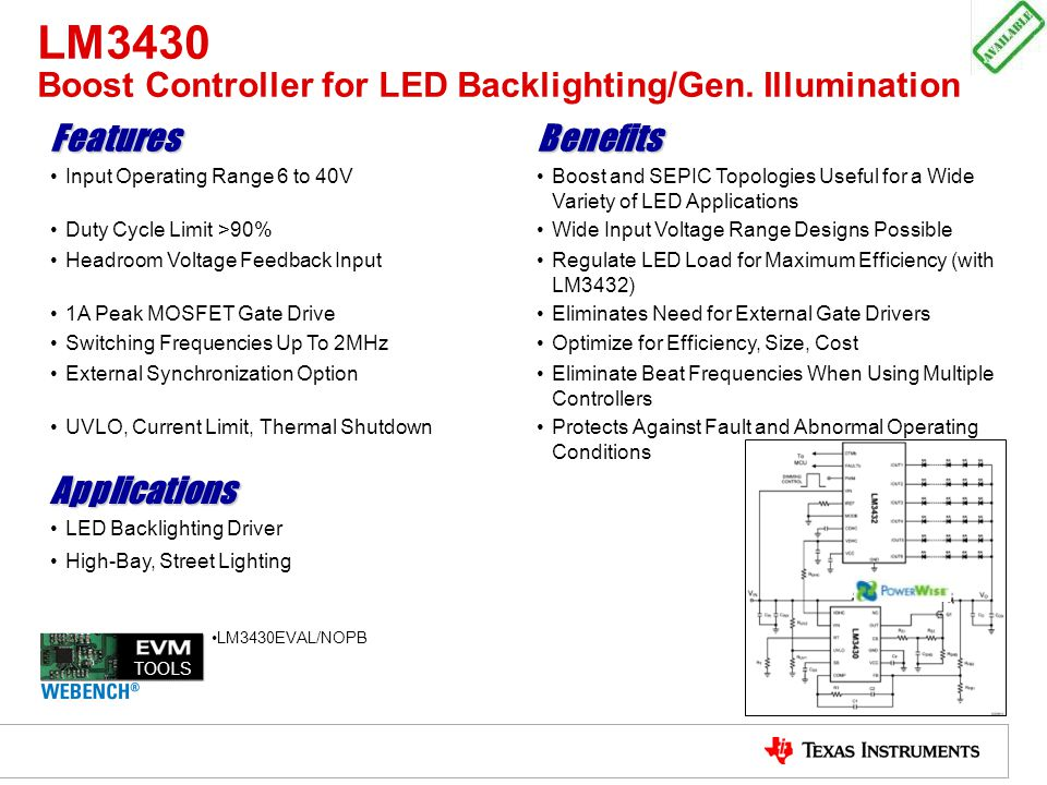 LM3430 Boost Controller for LED Backlighting/Gen. Illumination