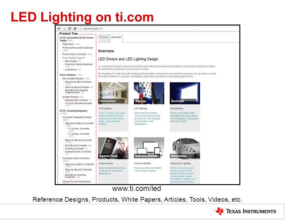 LED Lighting on ti.com www.ti.com/led