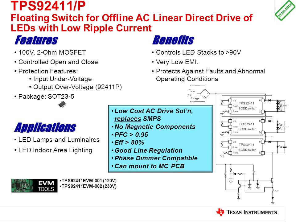 TPS92411/P Floating Switch for Offline AC Linear Direct Drive of LEDs with Low Ripple Current