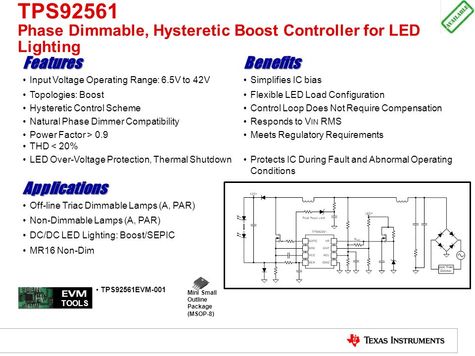 TPS92561 Phase Dimmable, Hysteretic Boost Controller for LED Lighting