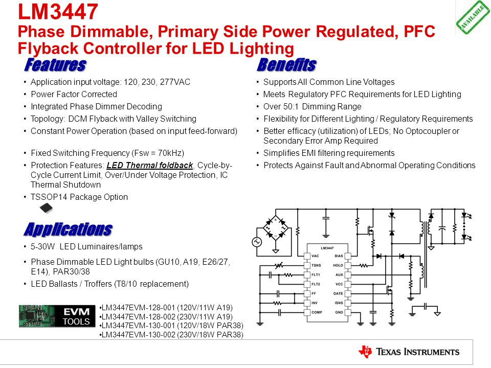 LM3447 Phase Dimmable, Primary Side Power Regulated, PFC Flyback Controller for LED Lighting