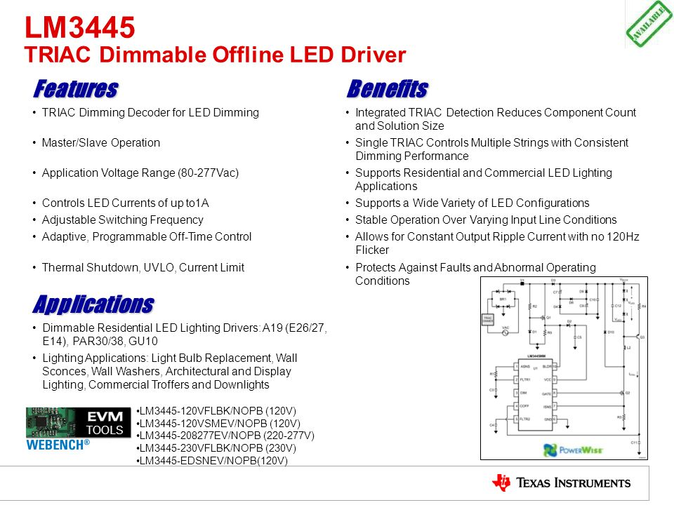 LM3445 TRIAC Dimmable Offline LED Driver