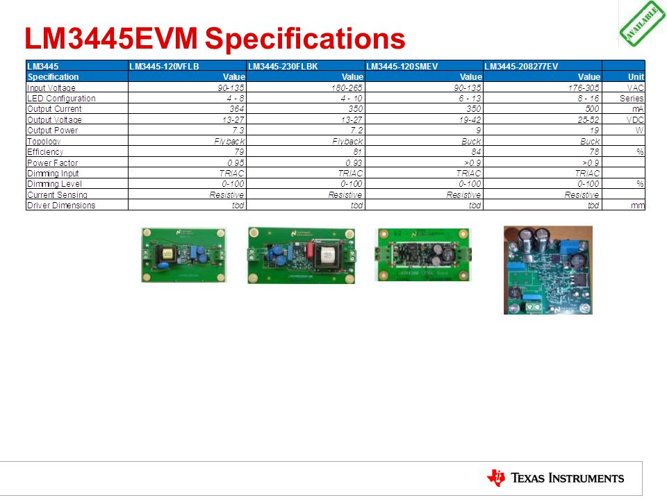 LM3445EVM Specifications