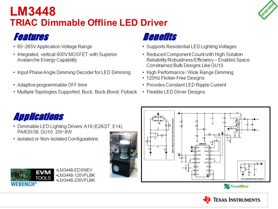LM3448 TRIAC Dimmable Offline LED Driver
