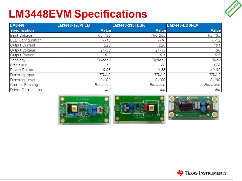 LM3448EVM Specifications