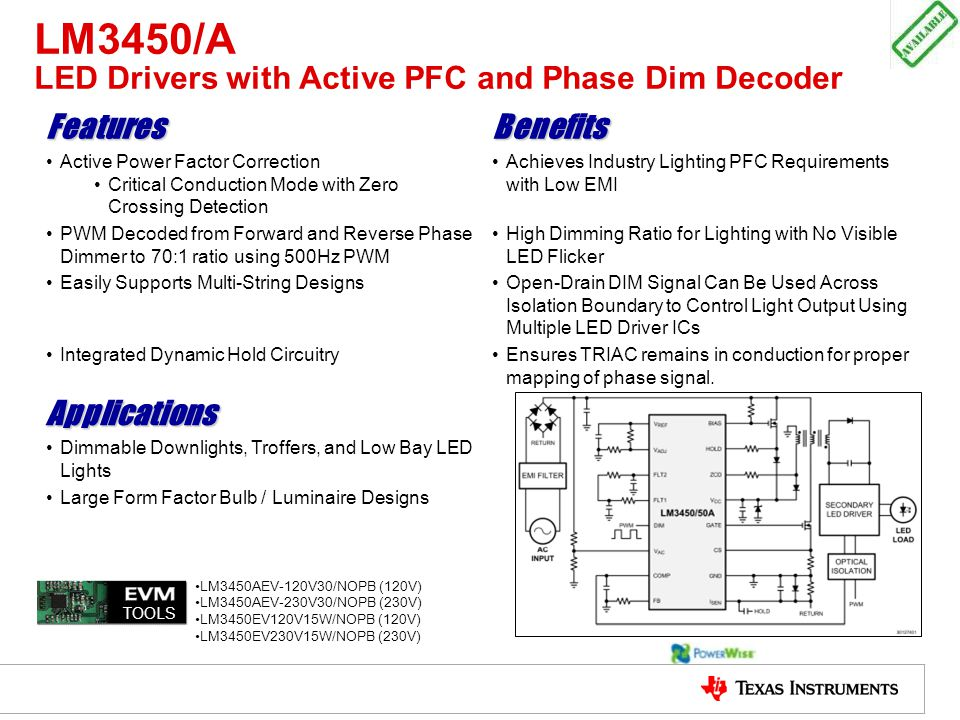 LM3450/A LED Drivers with Active PFC and Phase Dim Decoder