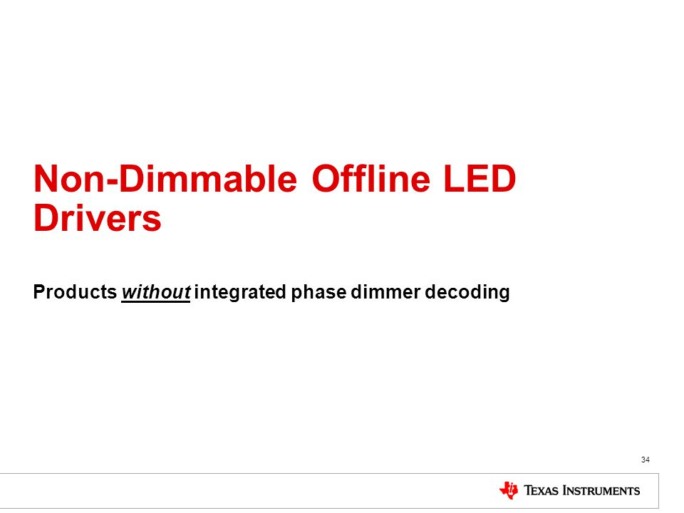 Non-Dimmable Offline LED Drivers