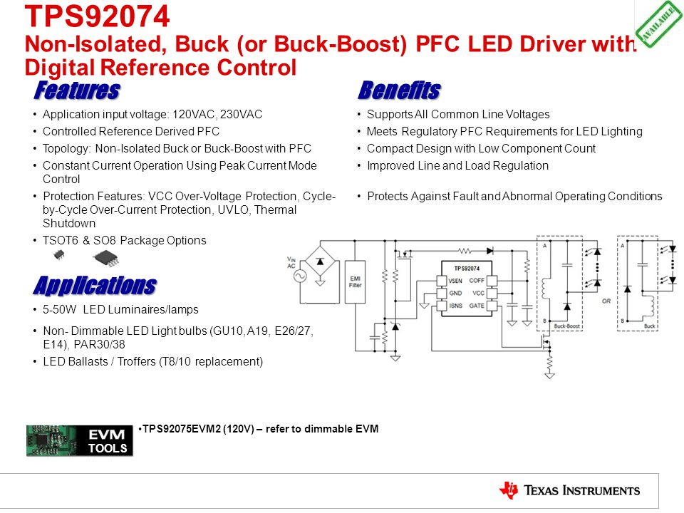 TPS92074 Non-Isolated, Buck (or Buck-Boost) PFC LED Driver with Digital Reference Control